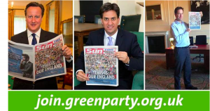 Cameron, Miliband and Clegg holding the Sun.