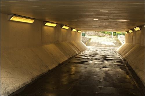 A dank pedestrian underpass
