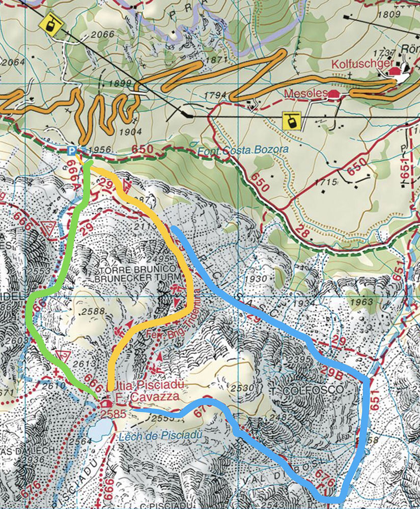 Via Ferrata in yellow, possible descent routes in green and blue