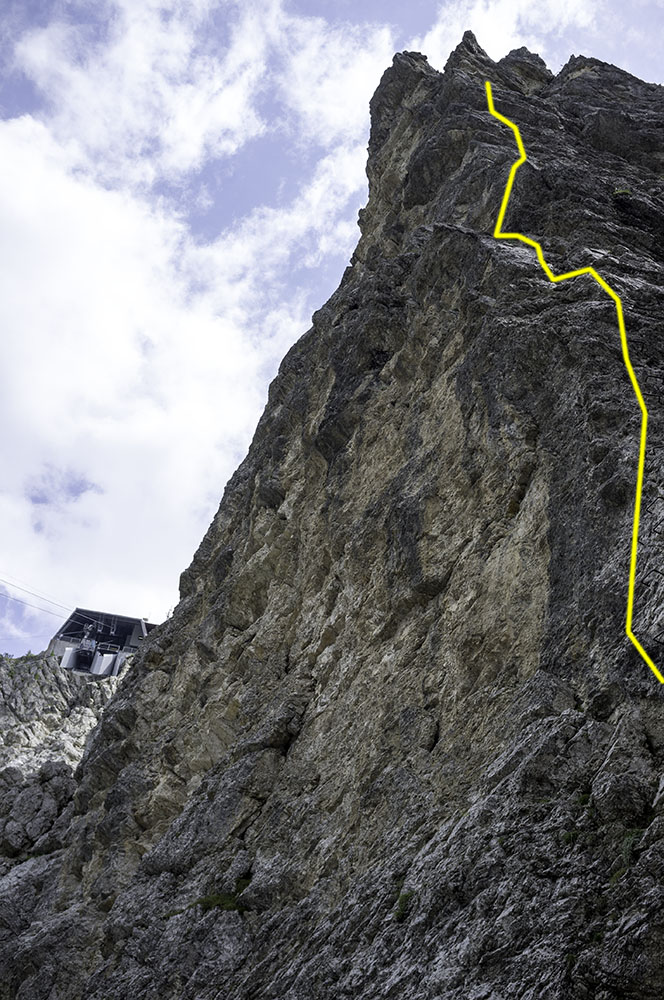 The headwall, cable highlighted in yellow
