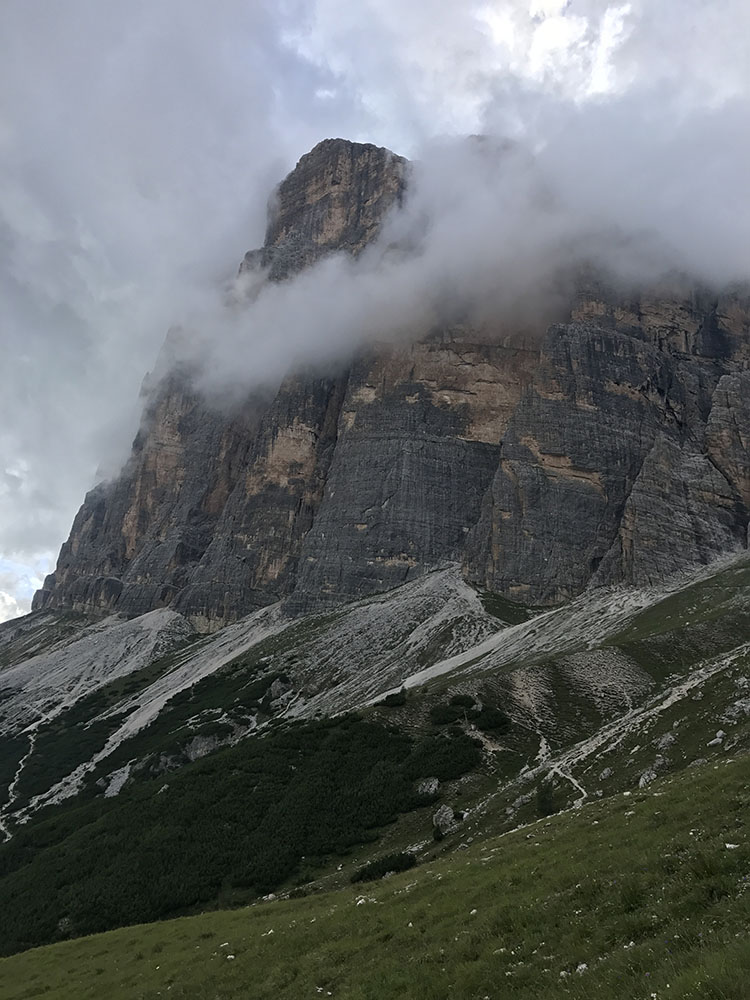 The vast bulk of Tofana de Roses, busy making weather, seen from near Rifugio Dibona
