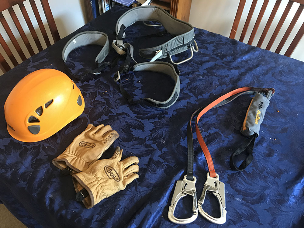 Helmet, climbing harness, via ferrata kit, gloves