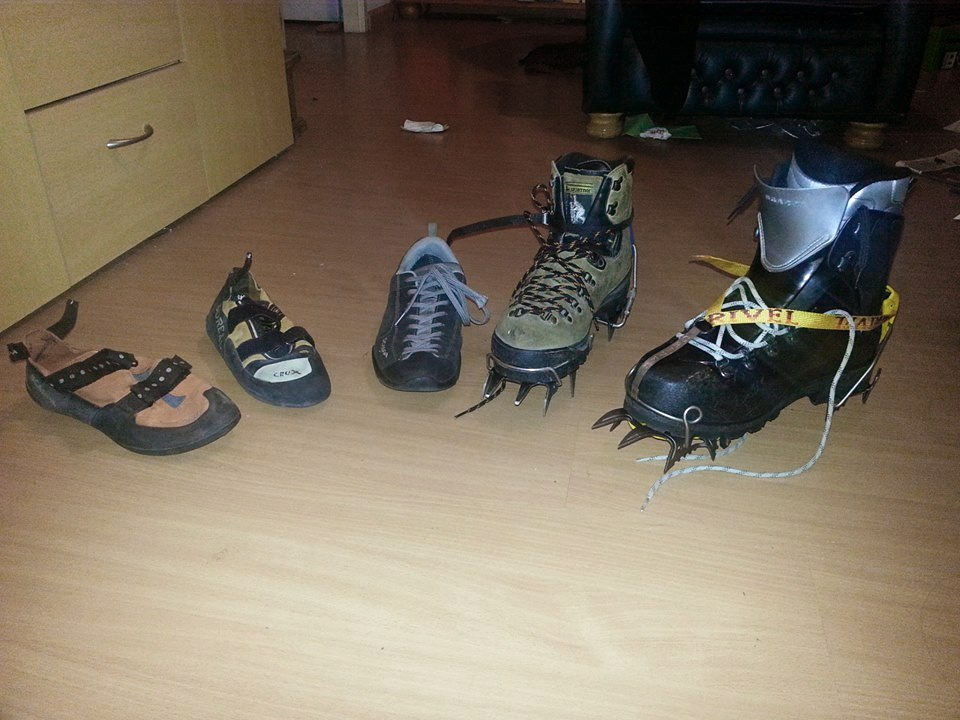 Courtesy of wikipedia, left to right: Two climbing shoes, approach shoes, mountain boots (with crampons)
